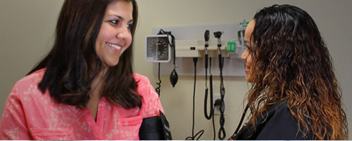 Nurse discussing with patient